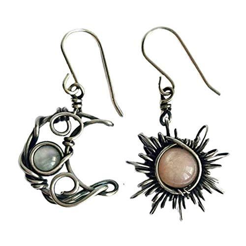 Pendientes colgantes de plata con forma de sol y luna Boho Retro, pendientes de aro de media luna, pendientes asimétricos de piedra lunar, regalo pagano Wiccan festival hippie de la media luna (1PCS)