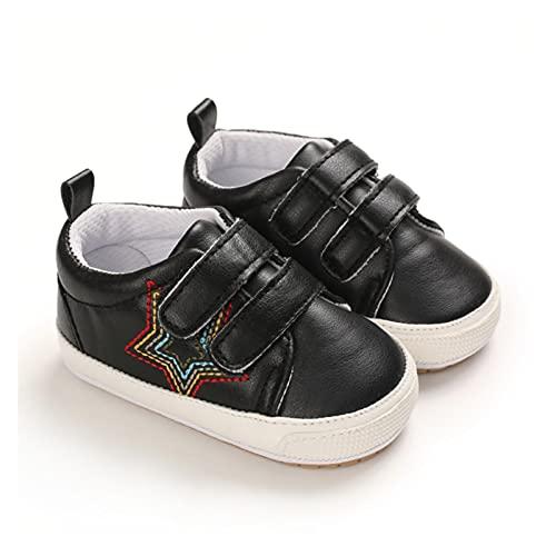 FURONGWANG6777BB Niño bebé PU Zapatos de Bucle de Gancho de Goma de Cuero sin Deslizamiento Infantil Unisex Los Primeros Caminantes (Color : Black, Size : 0-6 Months)