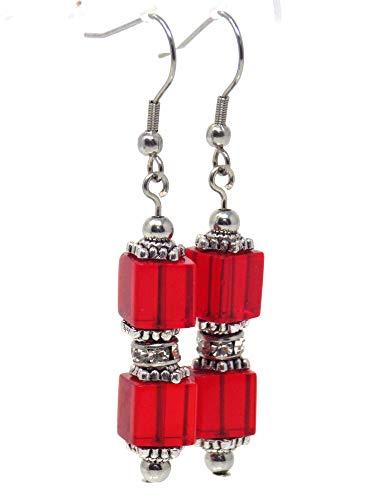 Pendientes colgantes en cristal rojo y pedrería en acero inoxidable