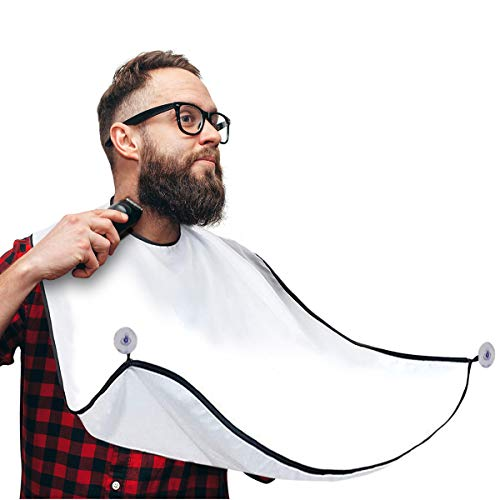 Beard Bib, Beard Catcher, Men's Non-Stick Material Beard Apron, for Styling and Trimming, One Size Fits Everyone - white