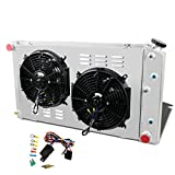 CoolingSky 3 Row Aluminum Radiator +2X12' Fan W/Shroud Combo & Relay Kit for 1968-1987 Chevy Chevelle El Camino &C/K 10 20 30 Pickup +More Buick GM Models丨34' Overall Width