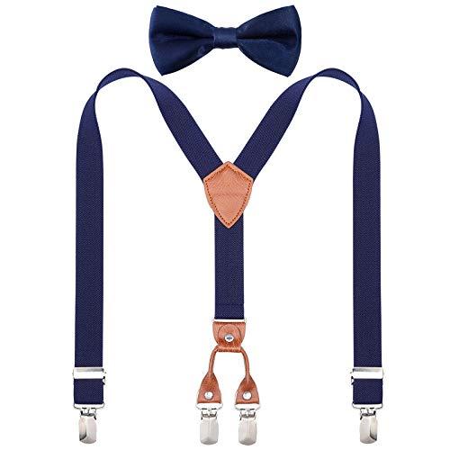 Kajeer Kinder Jungen Hosenträger Fliegen Set - Y-förmige Hosenträger und Fliegen Set für Jungen Mädchen Einstellbar Elastisch, 70cm(3 Jahre alt - 8 Jahre alt), Navy Blau