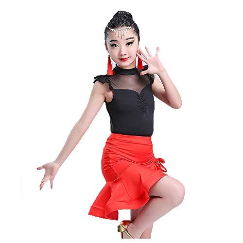 Vestido de baile latino para niñas Trajes de baile para niños Ballet Ropa de baile latino Las niñas Top Rumba Samba Práctica de baile Trajes de baile para niños niñas ( Color : Red , Size : 110 )