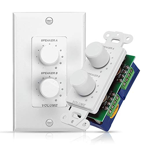In Wall Speaker Volume Control - Home Audio Smart 2-Channel A/B Dual Channel Speakers Controller Selector Pod Box - Rotary Knob Fader Control Up to (2) Pair of Indoor or Outdoor Speakers - Pyle PVCD15