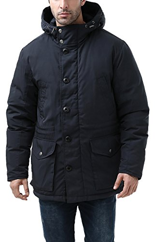 BGSD Men's Tommy Hooded Waterproof Down Parka Coat Navy Medium