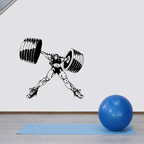 Bodybuilder Gym Fitness Sport Músculos Mujer con pegatina de pared de barbell Etiqueta de vinilo Decal de vinilo Decoración de arte 42x40cm