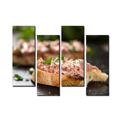 Wocatton Bitten Liverwurst Sandwich with Chopped Parsley on a Dark Slate Wall Art Background Decor Pictures Print On Canvas Art Stretched and Framed Perfect Home Decoration