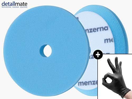 detailmate Set - Menzerna Wax Foam Pad - 150 mm - sehr weicher Polierschwamm - ideal zum Wachsen - blau + 2 Nitril - Schutzhandschuhe