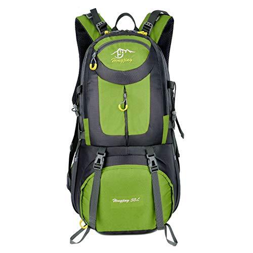 QXbecky Sac d'alpinisme sac à bandoulière hommes et femmes en plein air voyage imperméable à l'eau de porter une grande capacité sportive sac à dos de randonnée 40L 50L 60L vert clair 60x35x20cm