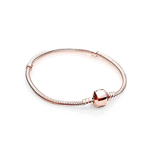 AKKi Charms Armband in Rosegold,Edelstahl Perle bettel Beads Bead Silber Original Strass kompatibel mit Pandora Style Rose Gold NEU 17cm