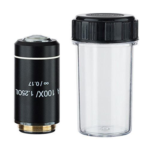AmScope A100X-INF-B 100X Infinity Achromatic Microscope Objective with Black Finish