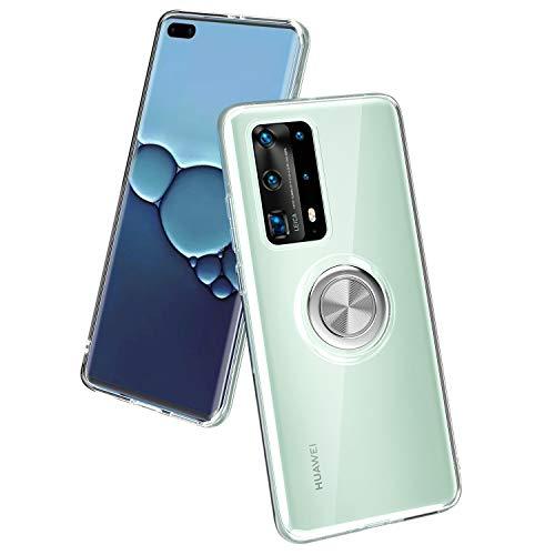 WATACHE Huawei P40 Pro Hülle, Kristallklare, schmale, weiche TPU-Schutzhülle für die Telefonhülle mit [Ringhalter-Ständer] [Magnetische Autohalterung] für Huawei P40 Pro,Klar