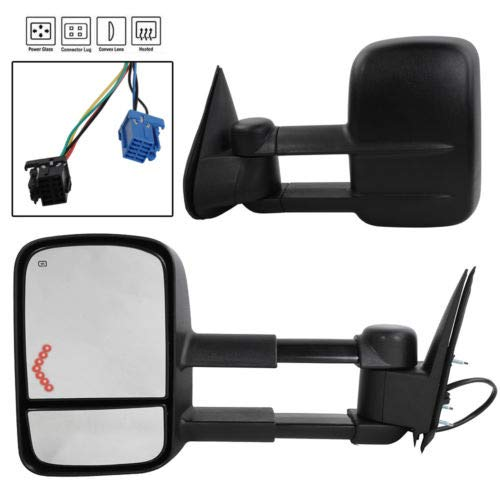 TRIBLE SIX Pair Towing Mirrors Power Operated Manual Folding Dual Glass fit for 03-06 Chevy Silverado 1500HD 2500HD 3500HD GMC Sierra Pickup with Heated and Arrow Turn Signal Light