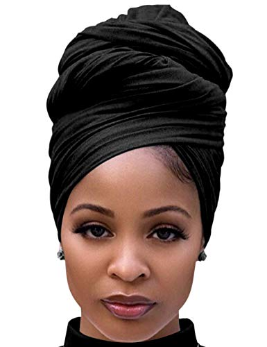 Harewom Black Hair Wrap for Women Long Stretch Jersey Head Scarf Summer Breathable Lightweight Turban Solid Color