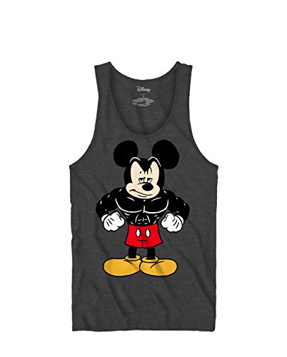 Tough Mickey Mouse Workout Exercise Graphic Tee Tank Top Classic Vintage Disneyland World Mens Adult T-Shirt Apparel (Large, Tank), Charcoal Grey