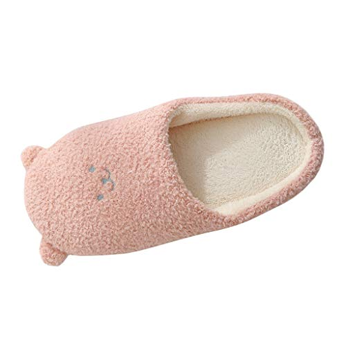 TEELONG Cute Slippers for Womens Girls Ladies House Slippers Slip On Anti Skid Bear Indoor Casual Shoes 2019 New Winter Cartoon Slippers Solid Color Comfortable Flat Flip with Ear Pink