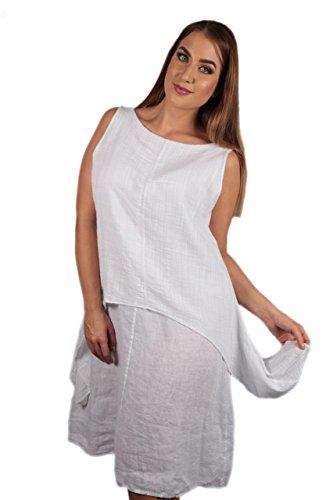 Made Italy Damen Kleid Midi-Kleid aus Leinen im Lagen-Look in weiß in Übergröße (one Size)