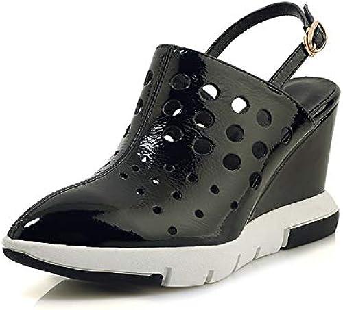 HommesGLTX Talon Aiguille Talons Hauts Sandales 2019 Creux sur des Chaussures en Cuir Verni Pompes Femmes Bout Pointu Boucle été Chaussures Compensées Plateforme Chaussures De Soirée