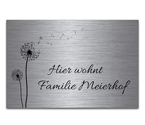 Edelstahl Türschild mit Gravur | Namensschilder Briefkastenschild selbstklebend oder mit Bohrlöcher 18x12 cm eckig mehr als 80 Motive Klingelschild Türschilder für die Haustür mit Namen