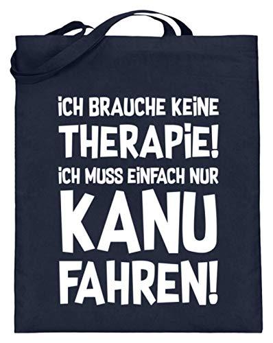 shirt-o-magic Kanufahren: Therapie? Lieber Kanu! - Jutebeutel (mit langen Henkeln) -38cm-42cm-Deep Blue