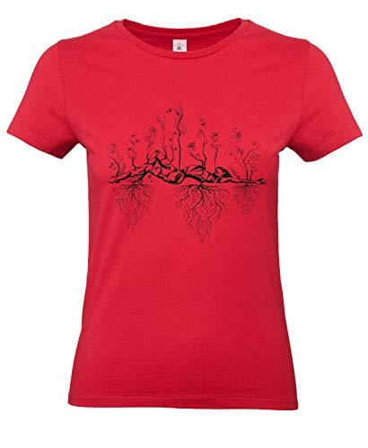 Smilo & Bron Damen T-Shirt Damen mit Motiv Uralter Garten Bedruckt Rot Red XL
