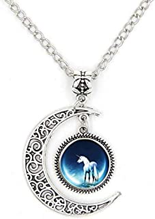 Moon Unicorn Time Glass Alloy Pendant Necklace -MY#016F