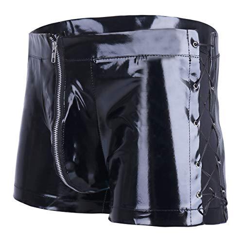 YiZYiF Herren Boxershorts Wetlook Boxer Briefs Schwarz Leder Shorts Unterwäsche Lackoptik Pants Hose M-XXL (M, Schwarz B)