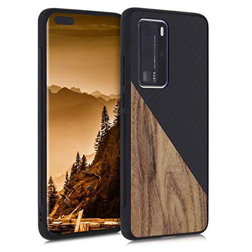 kwmobile Hülle kompatibel mit Huawei P40 Pro - Handyhülle - Handy Schutzhülle - Smartphone Cover - Dunkelbraun Schwarz