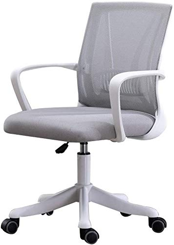 WYL Office Chair Computer Chair Adjustable Height Eronomic Office Desk Chair with Lumbar Support Mesh Excutive Council Chair for Office Meeting Room (Color : Gray, Size : White Frame)