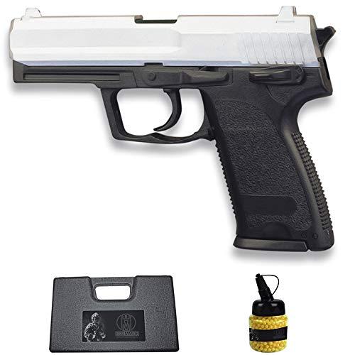 Pistola HFC-112 USP Bicolor (6MM) | Arma Corta de Airsoft (Bolas de plástico) Tipo HK USP + maletín PVC + biberón