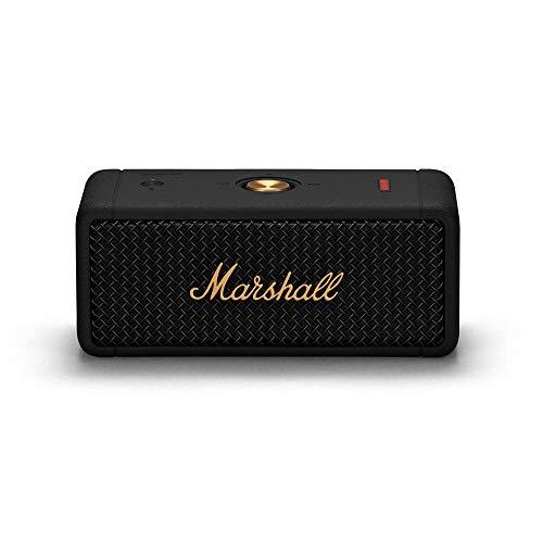 Marshall ワイヤレスポータブル防水スピーカー Emberton ブラック&ブラス 連続再生20時間/IPX7防水仕様/小型/急速充電 【国内正規品】