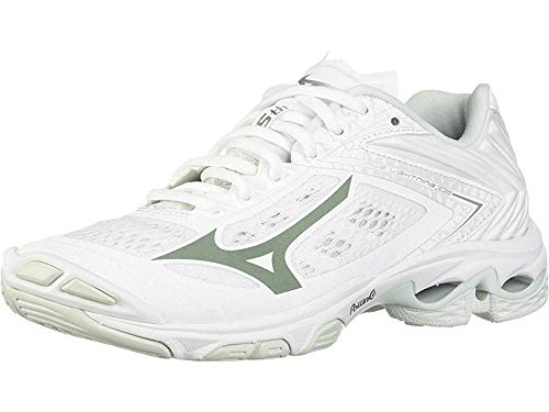 Mizuno womens Wave Lightning Z5 Indoor Court Shoe, White, 8.5 US