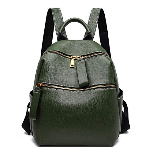 ZYSTMCQZ New First Layer Cow Leather Fashion Women College Bags Women Backpack Leisure Solid Color Bagpack (Color : Green)