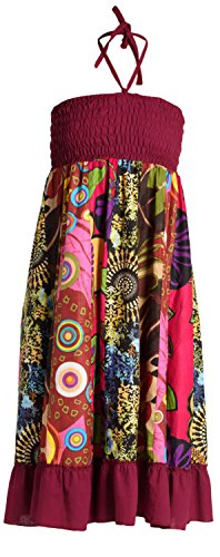 ufash Sommerkleid oder Sommerrock Patchwork für Damen, mit elastischem Bund - Goa Gipsy Hippie-Kleid, Pink 2