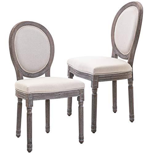 HOMCOM Lot de 2 chaises de Salle à Manger Chaise de Salon médaillon Style Louis XVI Bois Massif patiné Lin 51 x 51 x 96 cm écru