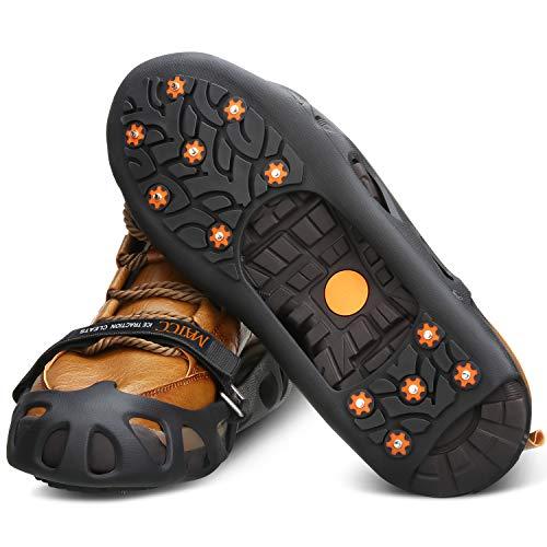 MATCC Ice Klampen Steigeisen Schuhspikes Schuhkrallen mit 12 Zähne Spike Griffe Anti Rutsch Schuhspikes für Winter Walking Bergschuhe Sport im Freien