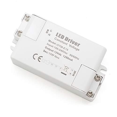 YAYZA! 1-Paquete Transformador de Conductor LED de Bajo Voltaje IP44 12V 1.25A 15W Fuente de Alimentación Conmutada de CA/CC