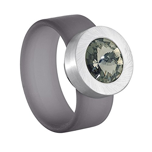 Heideman Ring Damen Colori grau aus Edelstahl silber farbend und grau Damenring für Frauen mit Swarovski Stein Kristall
