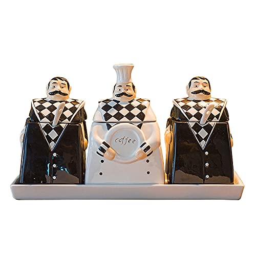 NIUXICH Juego de tarros de cerámica para condimentos, latas de sal de aceite para el hogar con tapa, salsa de soja, vinagre, aceite de oliva para accesorios de cocina y restaurante
