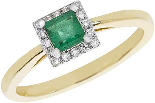 Esmeralda y Diamante Anillo Cuadrado Racimo Oro Amarillo Tasación Certificado