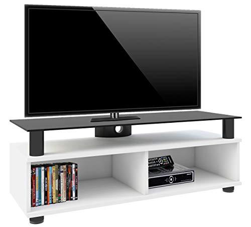 """VCM TV Lowboard Schrank Tisch Rack Fernsehschrank Fernsehtisch Bank Möbel Lack Holz Weiß \""""Clunis\"""""""