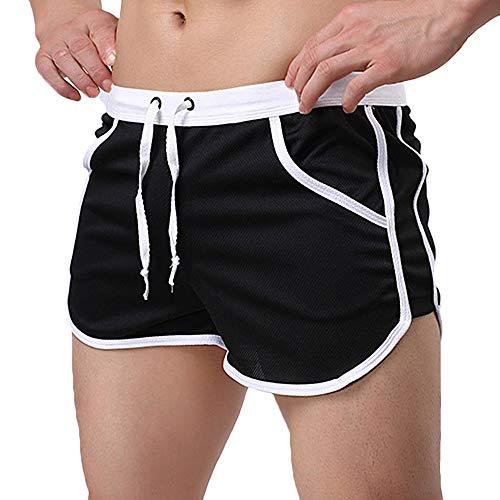 Rexcyril Men's Running Workout Bodybuilding Gym Shorts Athletic Sports Casual Short Pants Medium Black