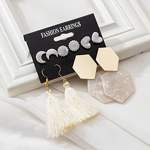 FEARRIN Pendientes Vintage con Tachuelas de Diamantes de imitación, Pendientes de Borla acrílicos para Mujer, Pendientes Colgantes, joyería Femenina geométrica