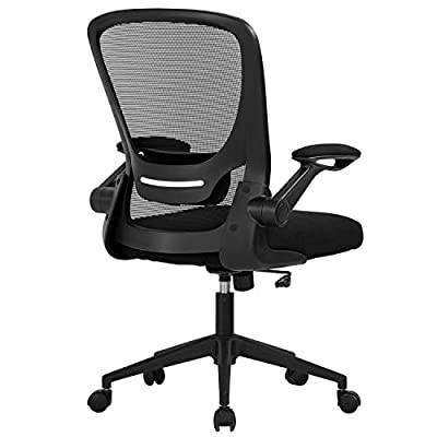 Home Office Chair Ergonomic Desk Chair Mesh Computer Chair Swivel Rolling Executive Task Chair with Lumbar Support Arms Mid Back Adjustable Chair for Men Adults, Black by BestOffice