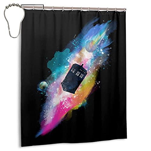 CANMA Die Chameleon Tardis Duschvorhänge Wasserdichter Badezimmer-Duschvorhang mit Haken Hochleistungs-Stoff-Badvorhang