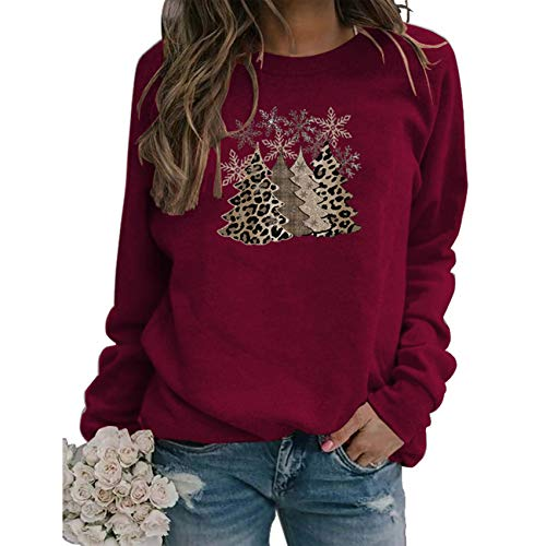 WANC Frohe Weihnachten Weihnachten Top Leopardenmuster Weihnachtsbaum Druck Langarm Sweatshirt Sweatshirt Lady