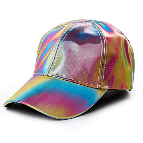 Nofonda Regenbogen Baseballmütze Baseball Cap Marty McFly Kappe Neon Mütze Glitzer Hut - Mehrfarbig & verstellbar