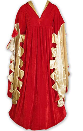 Scalloped Renaissance Medieval Dress, SCA Ren Faire Cosplay Costume, Game of Thrones LOTR Women Gown, Themed Wedding Red