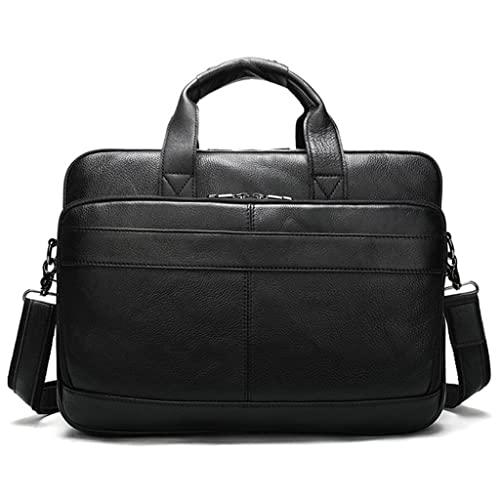 WQXD Hombres Maletín de Cuero Genuino Convertible 15.6 Pulgadas Laptop Messenger Bolsos Bolso Multifuncional Bolso de Hombro (Color : Black, tamaño : 15.6 Inch)