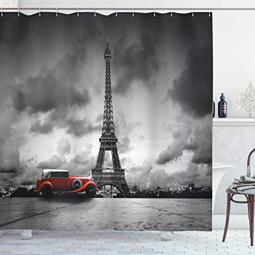 """Ambesonne Eiffel Tower Shower Curtain, an Image of a Famous Tower Paris France with Vintage Car at The Street with Dark Clouds, Cloth Fabric Bathroom Decor Set with Hooks, 70"""" Long, Black White Red"""